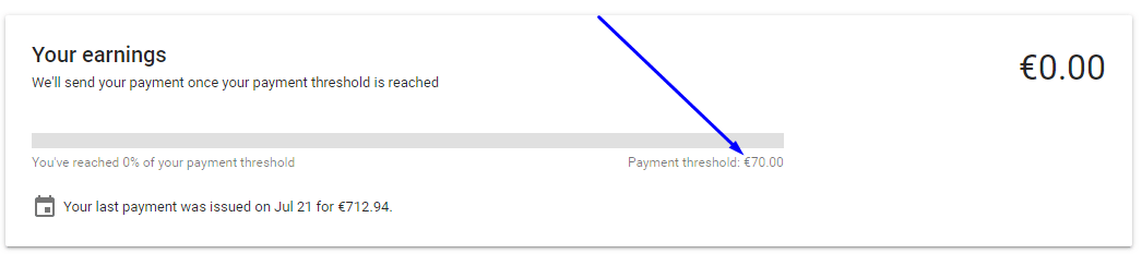 google adsense payment threshold