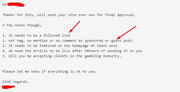 sponsored post warning