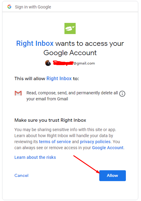 grant access to Right Inbox