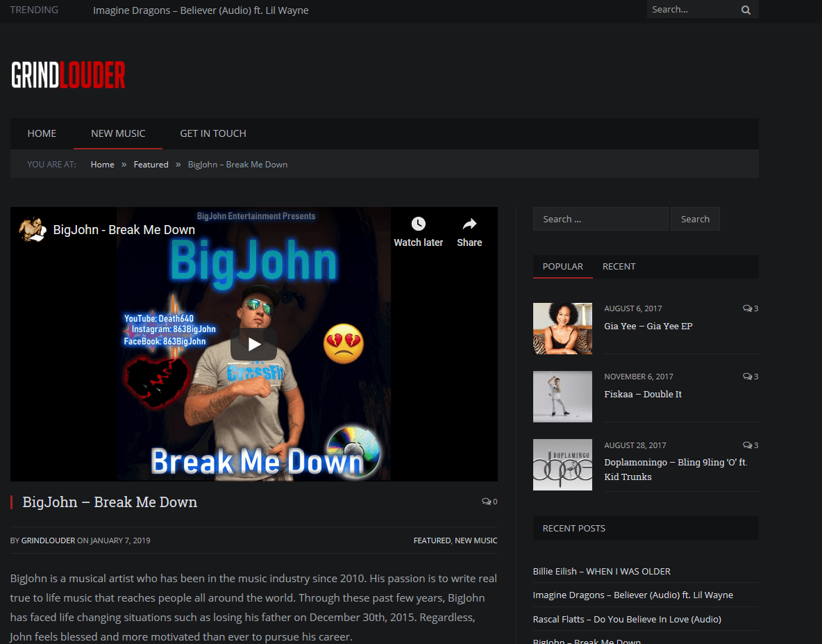 Special thanks to the guys at GrindLouder for featuring BigJohn Music on their blog.