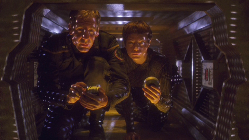 Archer and T'Pol in the repair station's jeffery tube.