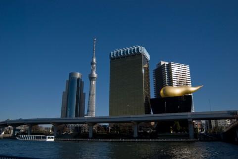 スカイツリー 吾妻橋からの撮影(アサヒビールビル)