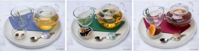 はるかのEternalホットティー(カモミール)、みちるのEternalホットティー(緑茶)、せつなのEternalホットティー(ほうじ茶)