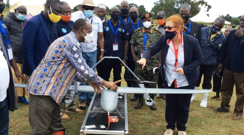 Dr Henry Mwebesa launching the medical supplies drone in Kalangala