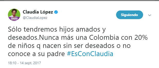 Colombia. Twitter Claudia