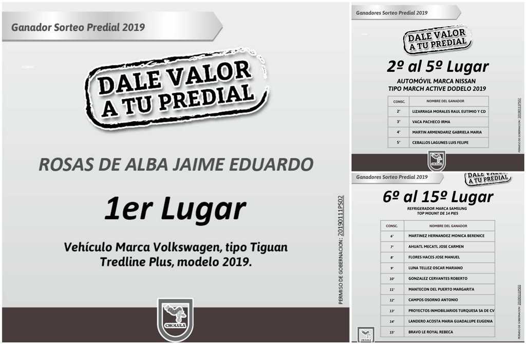 """SAN ANDRÉS CHOLULA REALIZA EL SORTEO """"DALE VALOR A TU PREDIAL 2019"""""""