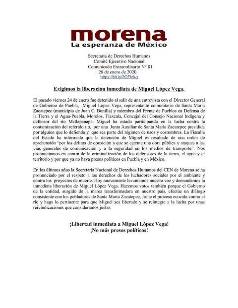 EL CEN DE MORENA EXIGIÓ AL GOBERNADOR MIGUEL BARBOSA HUERTA LIBERAR AL AMBIENTALISTA MIGUEL LÓPEZ VEGA
