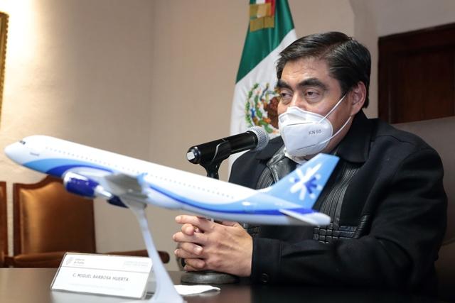 MIGUEL BARBOSA HUERTA PRESIDE ANUNCIO DE VUELOS A HOUSTON, NUEVA YORK Y ACAPULCO QUE SALDRÁN DEL AEROPUERTO POBLANO