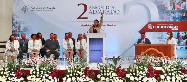 RINDE ANGÉLICA ALVARADO, PRESIDENTA MUNICIPAL DE HUEJOTZINGO, SU SEGUNDO INFORME DE GOBIERNO