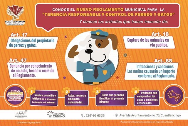 EN CUAUTLANCINGO SE PROMUEVE EL CUIDADO RESPONSABLE DE MASCOTAS A TRAVÉS DEL REGLAMENTO MUNICIPAL