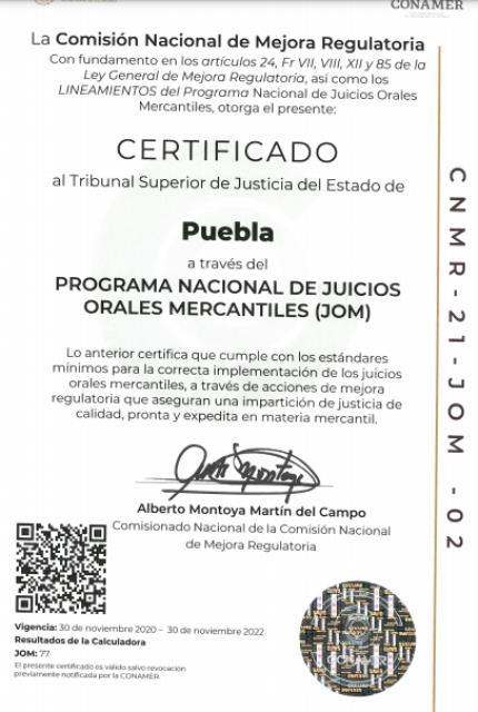 TRIBUNAL SUPERIOR DE JUSTICIA DE PUEBLA LOGRA RECERTIFICACIÓN DE LA CONAMER EN JUICIOS ORALES MERCANTILES