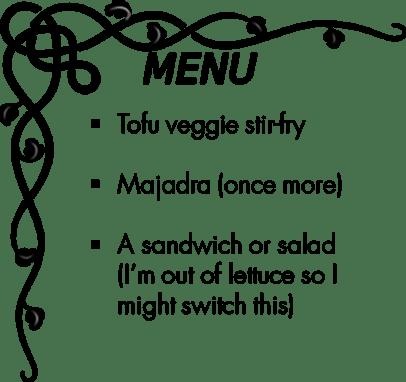Day 8 menu