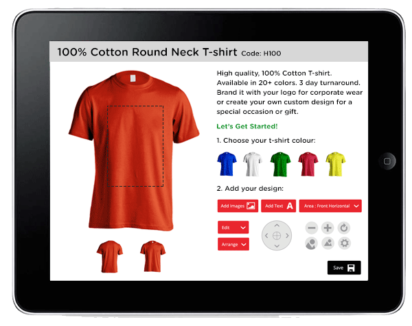 customize t-shirt example on ipad