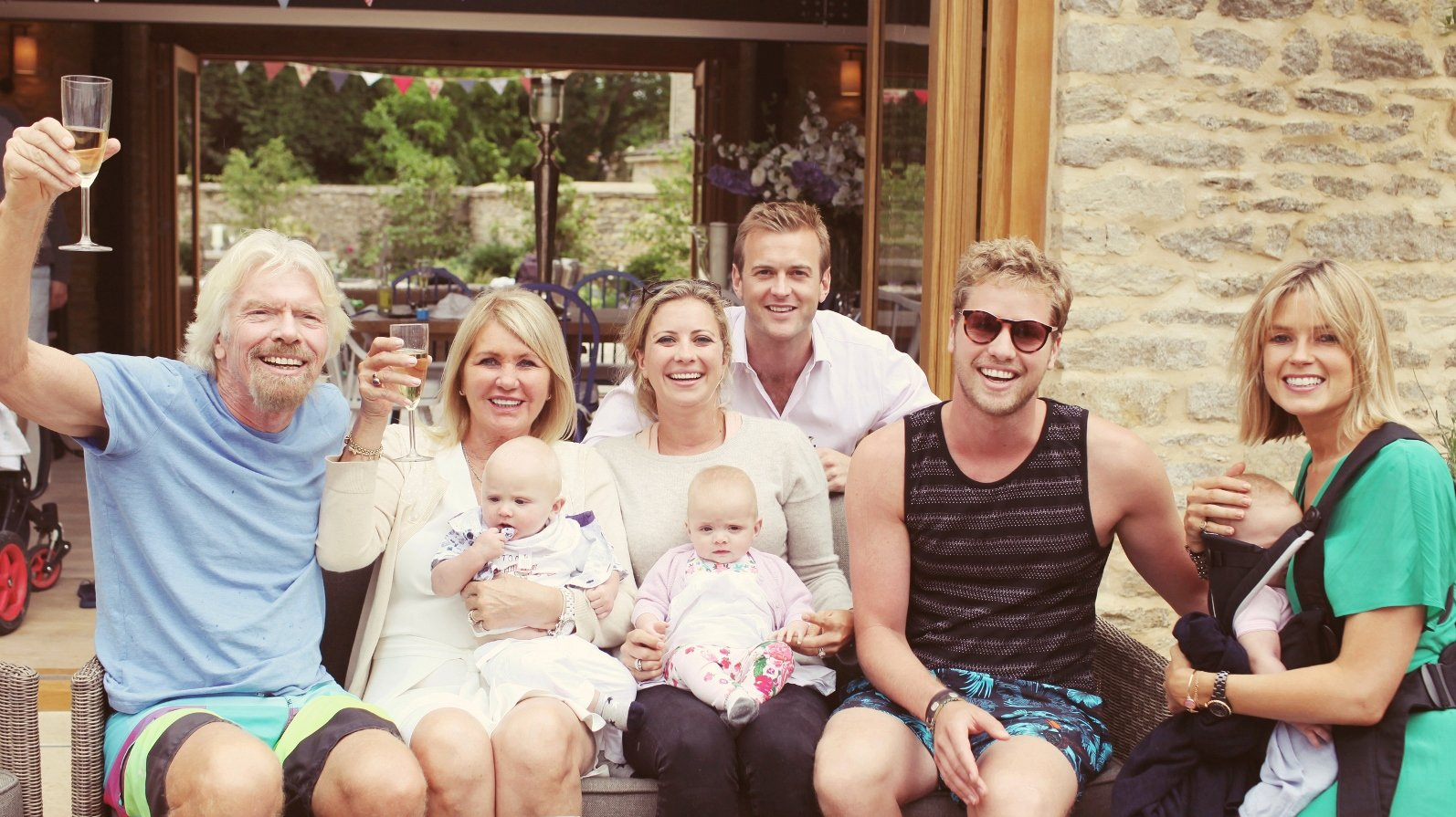 Branson 'being' happy with family. Photo Credit: Virgin.com