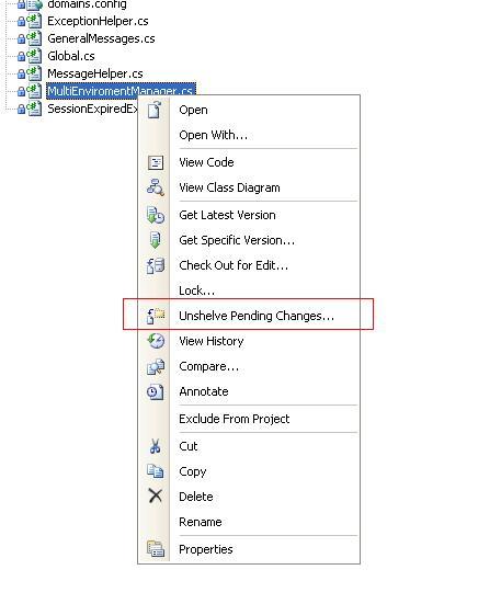 """Localização do botão """"Unshelve Pending Changes"""" ao clicar com o botão direito em qualquer item do Solution Explorer."""