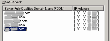AD DNS Name Servers List / Tab