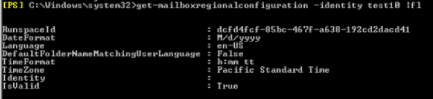 display settings after fixing mailbox: get-mailboxregionalconfiguration -identity MAILBOXNAME fl