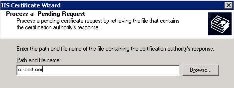 Process pending certificate request IIS 6