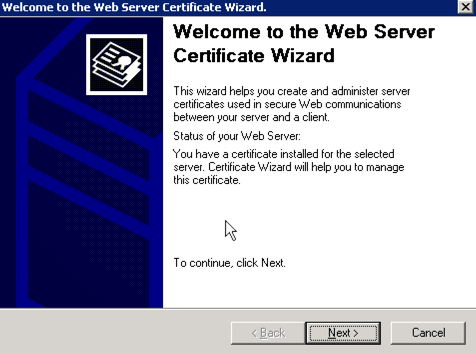Welcome to the IIS web server certificate wizard