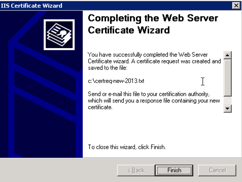 Completing the Web Server Certificate Wizard IIS 6