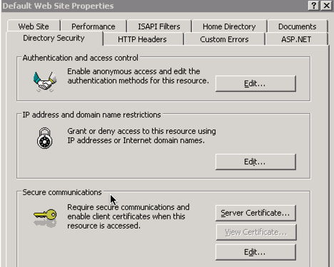 Directory Security - Server Certificates