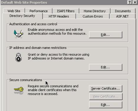 Directory Security - Server Certificates