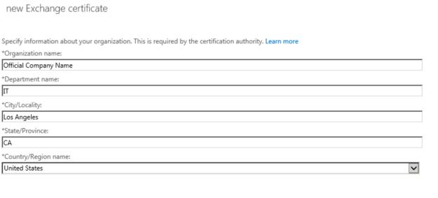 certificate request organization info