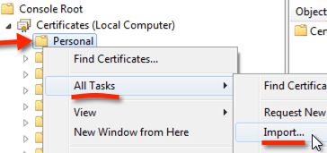 certificates import into personal store