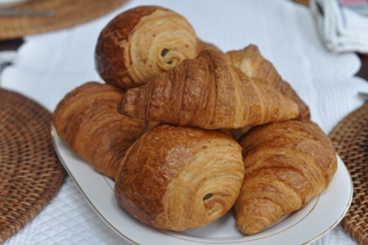 Fresh croissant and pain au chocolat