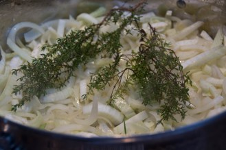 Saute the fennel and onion. Add the thyme.