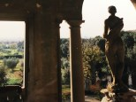 View of the gardens from a tower in the villa