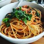 Here is my favorite...pasta pomodoro with plenty of garden fresh basil.