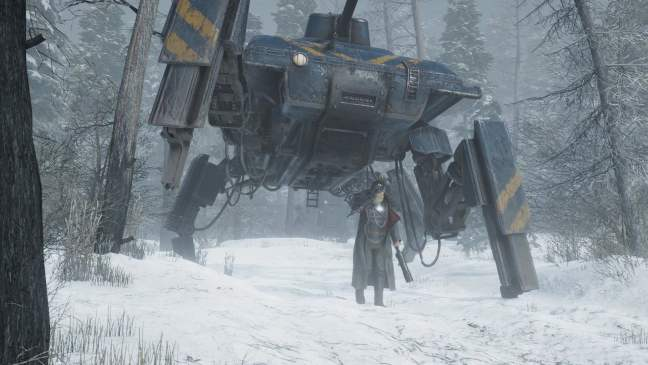 Iron Harvest mech in the snow