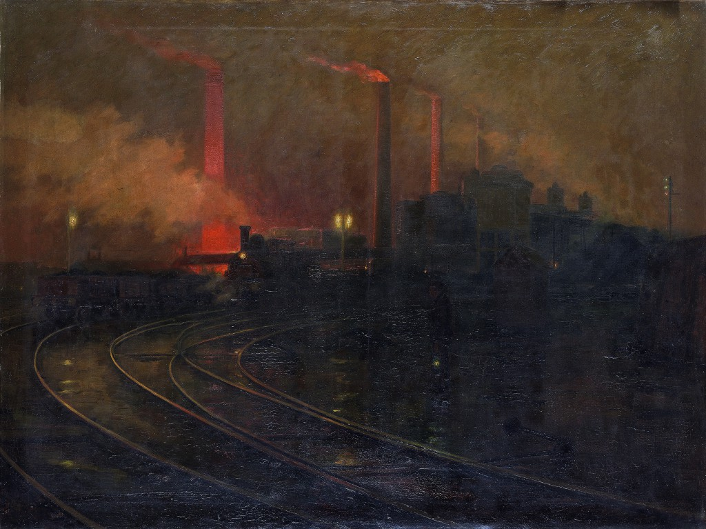 """Lionel Walden's """"Steelworks, Cardiff, at Night"""" (1895-97). Oil on canvas, 59 3/8 x 78 x 7/8 in. National Museum Wales (NMW A 2245). Courtesy American Federation of Arts."""