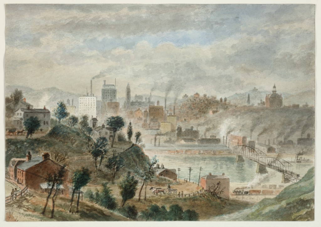 """Pittsburgh's prosperous skyline in William Gillespie Armor's """"Pittsburgh from Mount Washington"""" (1907). Watercolor, collection of Sheryl and Bruce Wolf."""