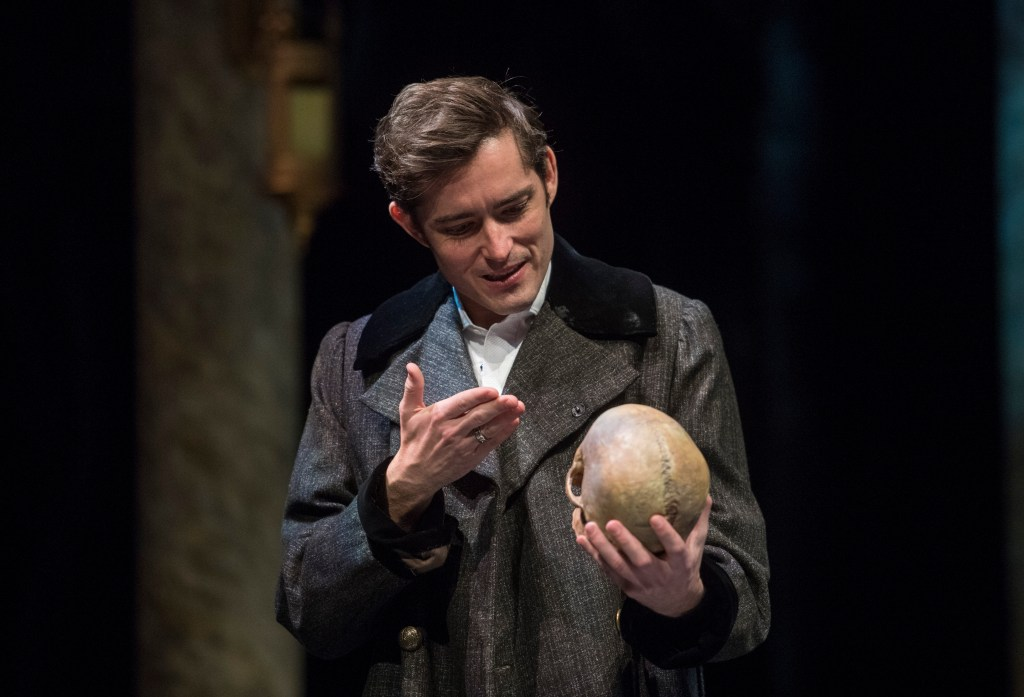"""Hamlet looks at the skull of his late friend, the court jester, and says """"Alas, poor Yorick! I knew him, Horatio, a fellow of infinite jest, of most excellent fancy."""""""