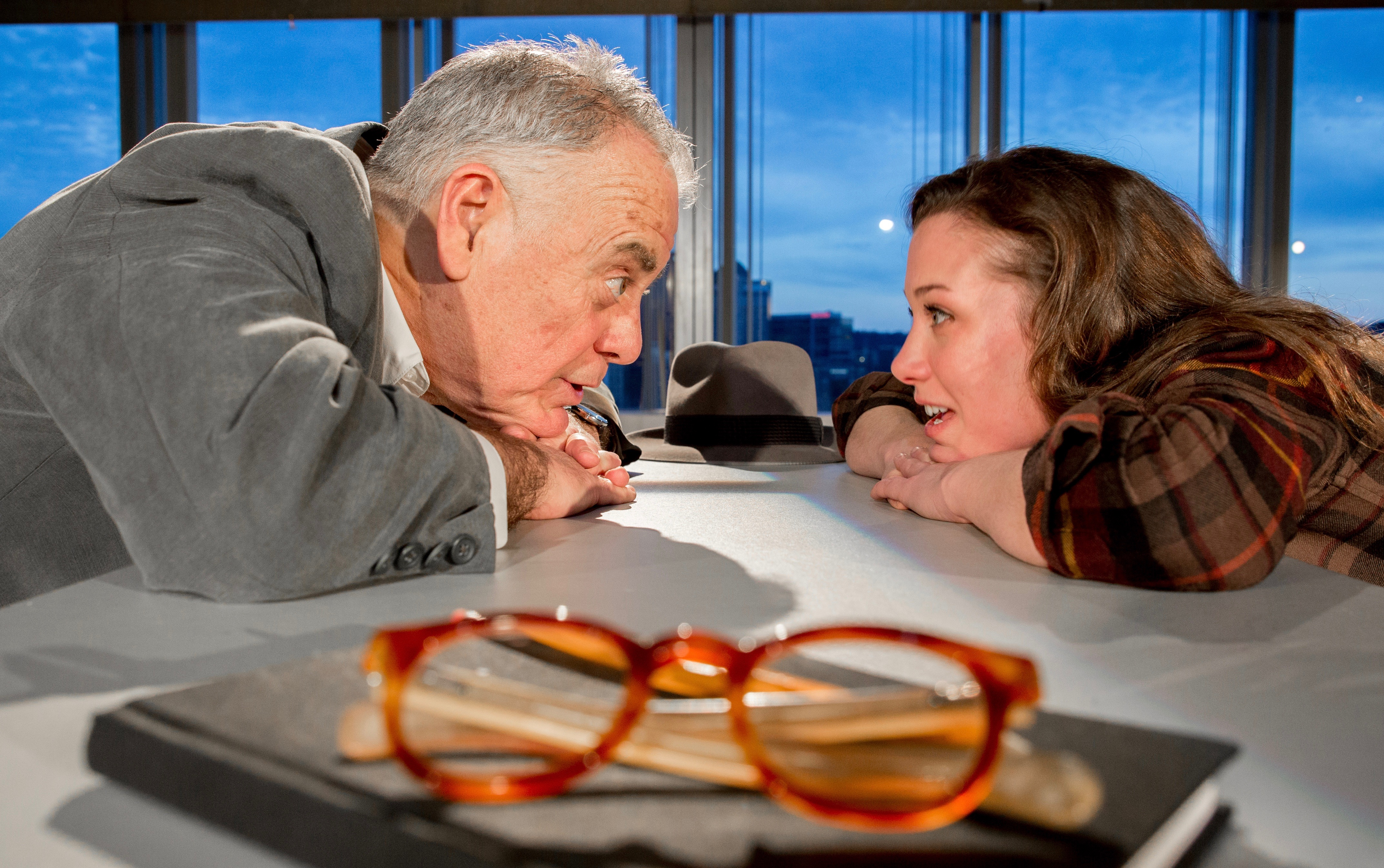 Master builder Solness (John Shepard) and Hilda (Hayley Nielsen) see eye-to-eye, but not clearly: Solness isn't wearing his reality specs.