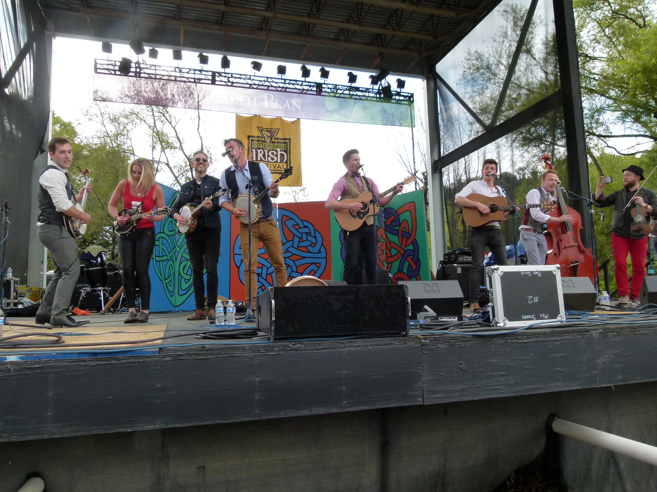We Banjo 3 and performers from other groups jamming together.