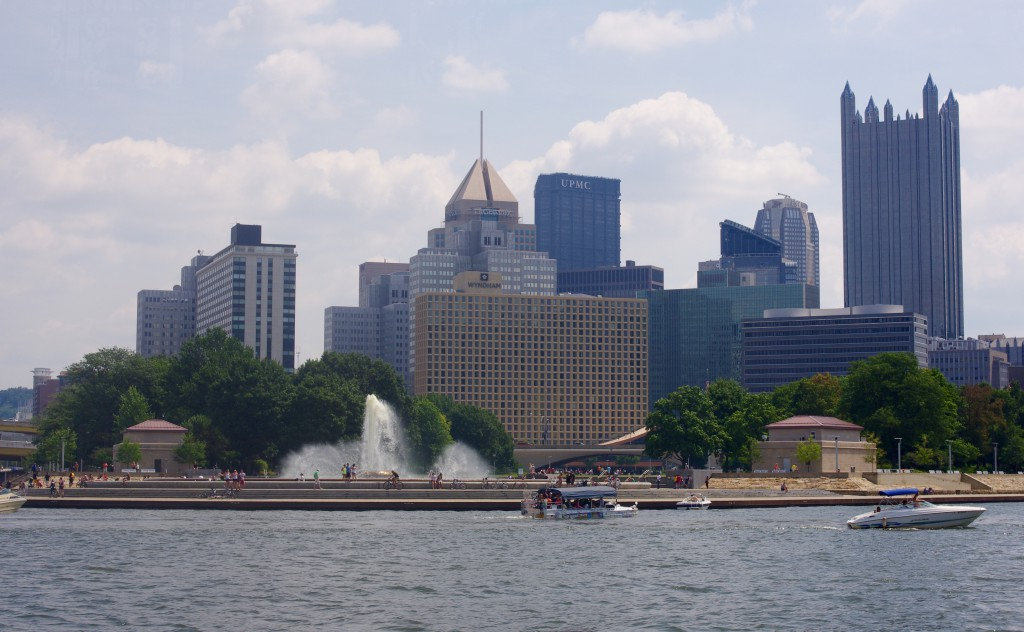 The riverboat rounds Point State Park. The captain provides a commentary on the sights throughout the cruise.