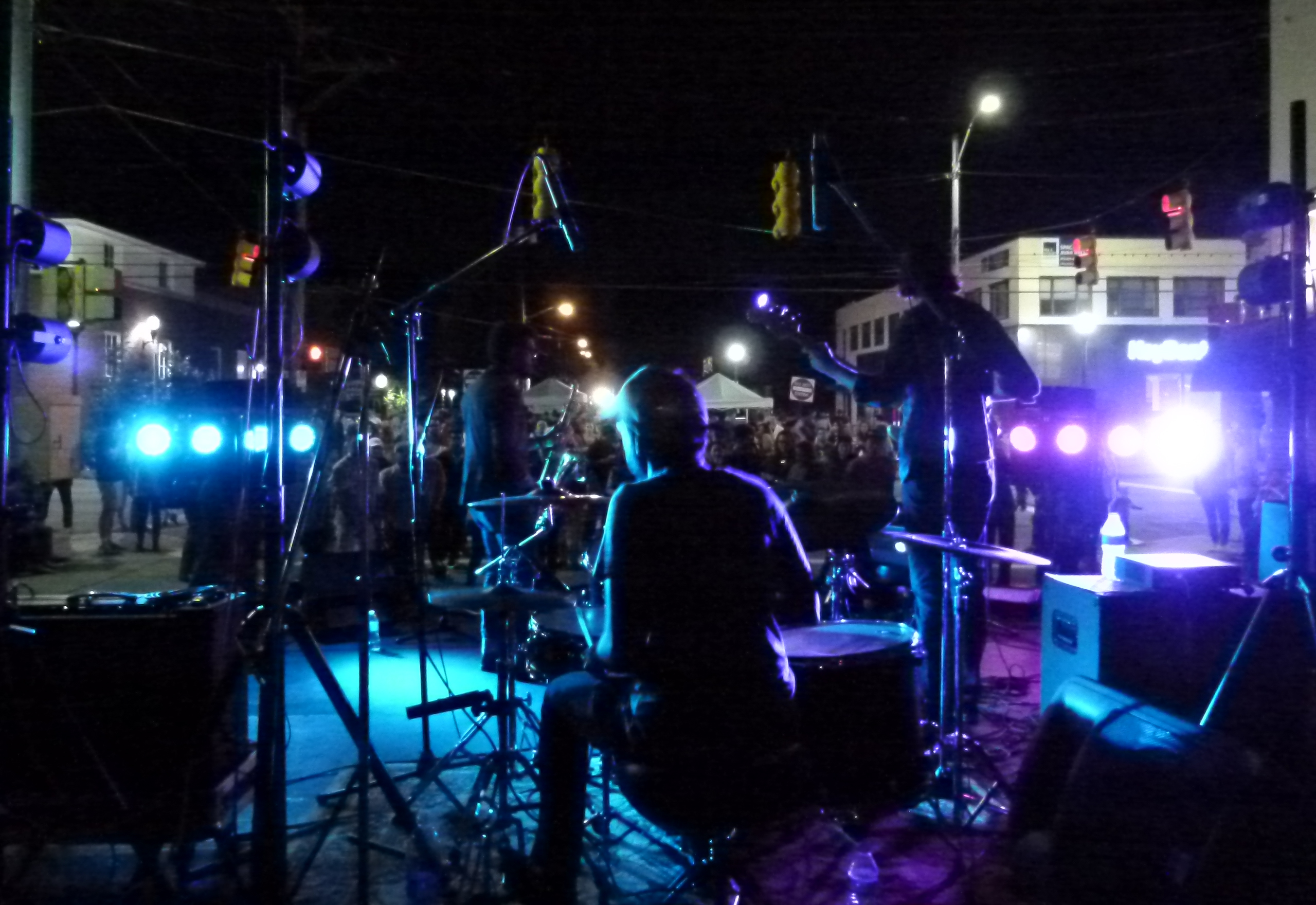 View from the back of the drum kit of East End Mile.