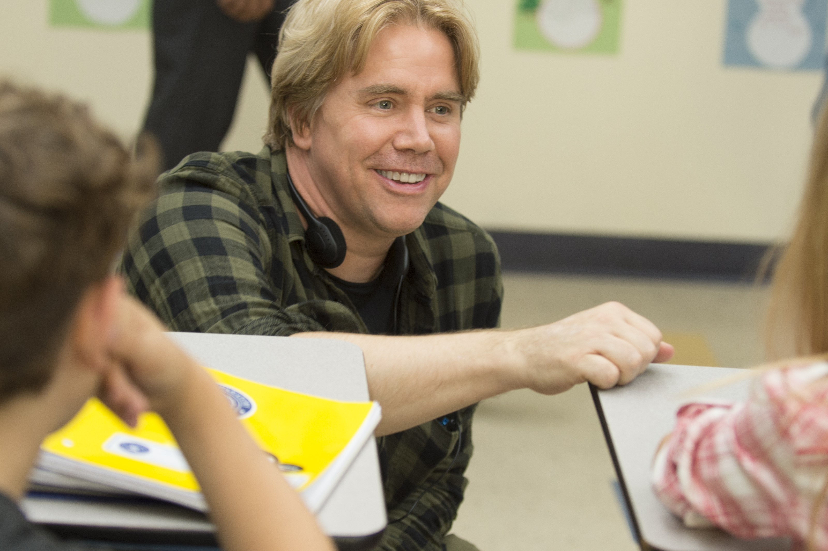 Director Stephen Chbosky interacting with young actors on the set of 'Wonder.'