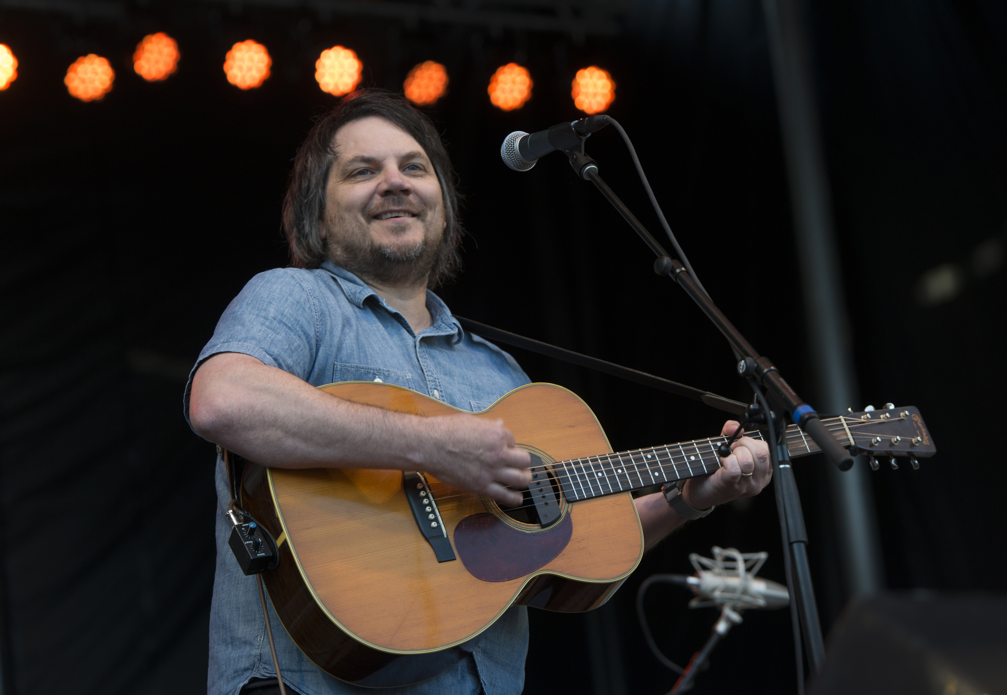 Jeff Tweedy, frontman for the nationally known alt-rock band Wilco, plays a new song on opening night of the festival.