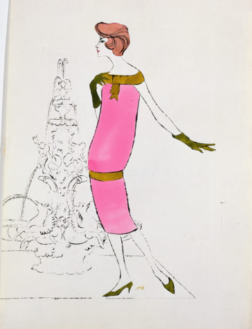 Ink and Dr. Martin's Aniline dye on Strathmore paper fashion illustration. Andy Warhol, Female Fashion Figure, 1950s, The Andy Warhol Museum, Pittsburgh, © The Andy Warhol Foundation for the Visual Arts, Inc.