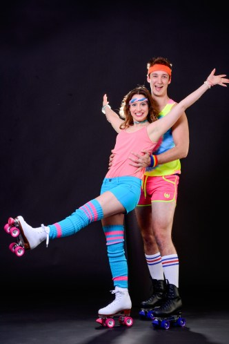 Actors (and skaters) Olivia Vadnais and Reed Allen Worth have fun in CLO Cabaret's 'Xanadu.' photo: Archie Carpenter.