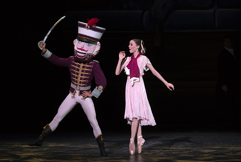 Marie (Molly Wright) discovers that her beloved Nutcracker (Ruslan Mukhambetkaliyev) has become life-sized and can rescue her from the rats and mice.
