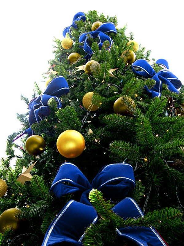 Blue Bead Christmas Tree with Yellow & Gold Ornaments