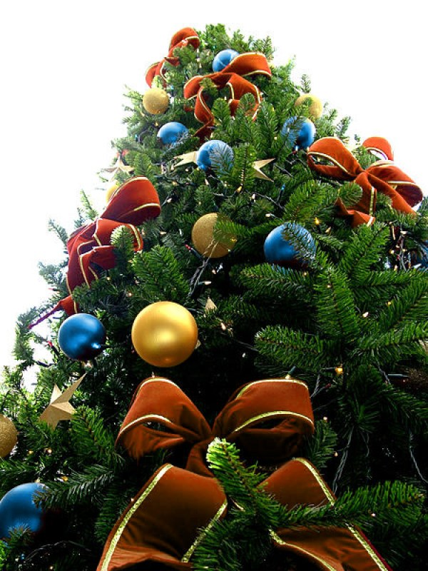 Orange Bead Christmas Tree with Blue & Golden Ornaments