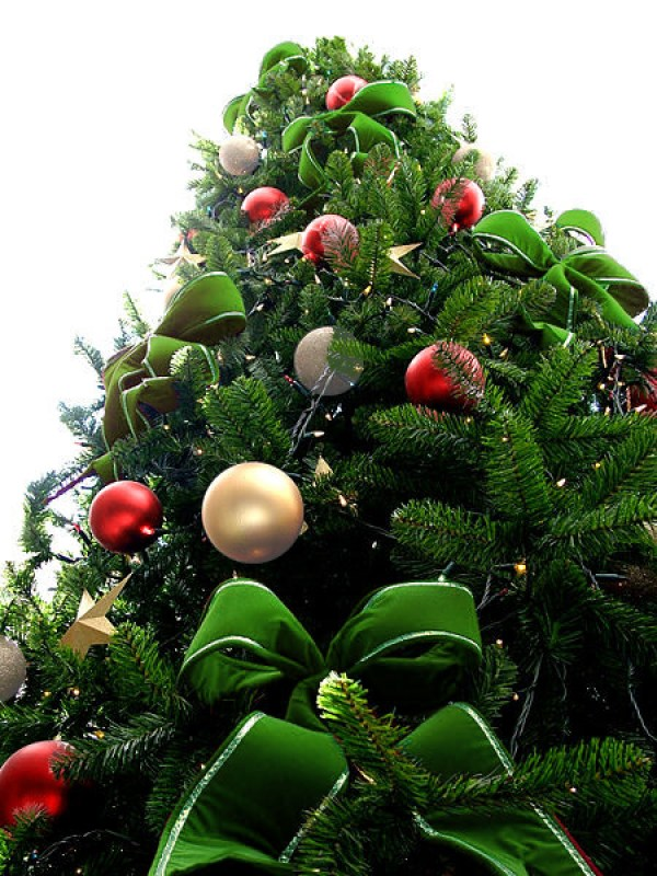 Green Bead Christmas Tree with White & Red Ornaments