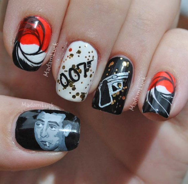 James Bond Inspired Nail Art
