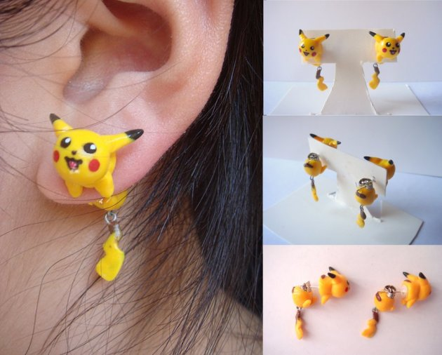 Pikachu Clinging Earrings